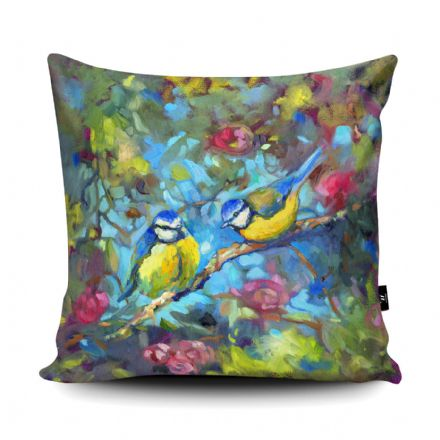 Bluebirds and Blossom Print vegan faux suede cushion with a Fibre Inner by Sue Gardner